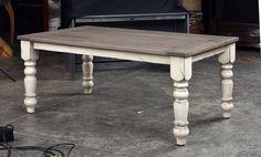 Rustic White Oak Farmhouse Table by OhioTableCo on Etsy