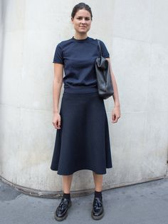 Faux neck turtleneck top  Midi skirt - length and A-line style