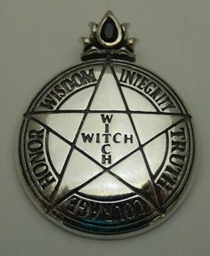 WITCH PENTACLE Pendant in .925 Sterling Silver - Magick High Priestess PENTAGRAM…
