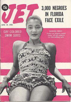 JUN 28 1956 JET MAGAZINE VOL.10 #8 (Ramona Bruce) Vintage Woman, Vintage Black, Vintage Ladies, Jet Magazine, Black Magazine, Suits Show, Vintage Magazines, Swimsuits, Swimwear