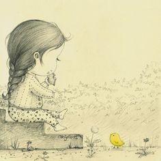 봄날의 편지(A Letter from a spring day) by 꼬닐리오 on Grafolio Korean Illustration, Cute Illustration, Pencil Art Drawings, Drawing Sketches, Little Girl Drawing, Sweet Drawings, Bunny Art, Cute Cartoon Wallpapers, Cute Art
