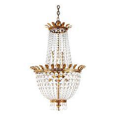 Vintage Hollywood Regency French Louis XV Gilt Metal Queen ...:Hollywood Regency Chandelier,Lighting