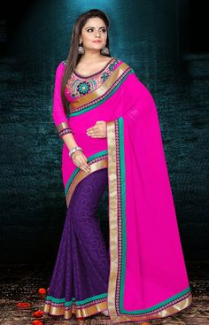 USD 74.96 Pink and Purple Faux Georgette Party Wear Saree 40257