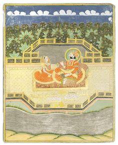 Maharaja Takhat Singh and consort on terrace Jodhpur, circa 1850