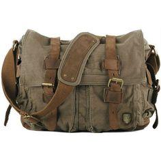 Military Messenger Bag ($70) ❤ liked on Polyvore featuring bags, messenger bags, canvas bag, military fashion, courier bag, military bag and brown bag