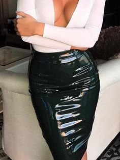 Black High Waist Zip Back Leather Look Skirt Leather Look Skirts, Leather Dresses, Sexy Latex, Sexy Outfits, Fashion Outfits, Fashion Women, Latest Fashion, Pvc Skirt, Midi Skirt
