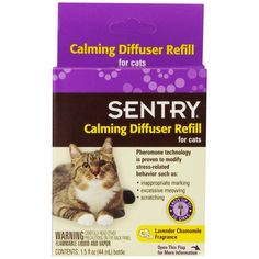 🐱 Sentry Calming Diffuser Refill for Cats helps with the following stressful situations: Separation anxiety, thunderstorms, fireworks, noise fears, visitors, holiday stress, new baby or new pet. Pheromone technology is proven to modify stress behavior such