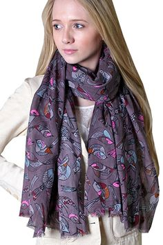 Anika Dali Women's Tweet Bird Print Lightweight Scarf (Grey / Pink) at Amazon Women's Clothing store: Fashion Scarves