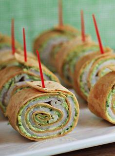 Pesto tortilla pinwheels make a great party appetizer!