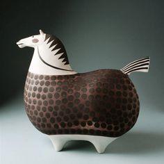 Stig Linberg, Glazed Ceramic Horse, 1950s.