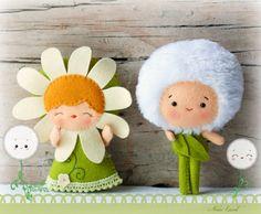 PDF pattern. The daisy and the dandelion. Plush Doll por Noialand