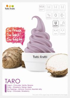 Taro frozen yogurt from Tutti Frutti