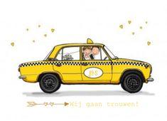 Trouwkaart met bruidspaar in gele Lada taxi