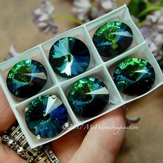 18mm Rivoli, Genuine Swarovski Crystal, Electric Sky UNF Blue Green 1122 With Silver or Gold Plated Setting