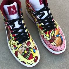 """Love it or hate it, this is the Perfect song for these. """"I like food"""" by the Descendents. TAG someone that eats too much lol ⠀ 🍕 Customs made by our sponsored artist  @chadcantcolor🍔 ✨Angelus Brand✨ 🔸Since 1907 🎨 🔹Made in America🇺🇸 🔸Over 100K 5 star reviews ⭐️⭐️⭐️⭐️⭐️ 🔹Over 💯 colors 🎨 🔸Used by the best in the game 🏆 🔹Create what you can't have #Angelusdirect #Angelusbrand #Hypebeast #jordan #jumpman #rareair #pizza #cheeseburger #food #eat #dinnertime #custom #kicks #art…"""