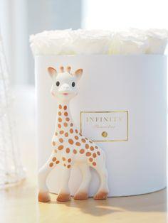 Sophie the Giraffe purulelu, joka aktivoi vauvan kaikkia aisteja. / Raskauskeiju.fi Baby Items, Giraffe, Planter Pots, Place Cards, Table Lamp, Place Card Holders, Home Decor, Felt Giraffe, Lamp Table