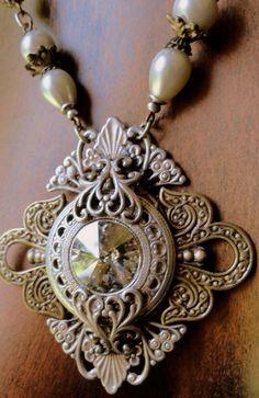 Vintage Style Golden Shadow Swarovski Rivoli and Mixed Metals Necklace by KCRlehrstudio,