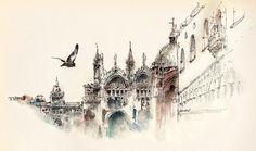 Elusive Architecture in Watercolors of Korean Artist Sunga Park, Venice, Italy
