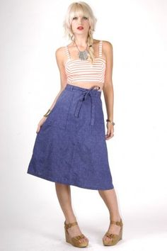 Vintage Denim Wrap Skirt