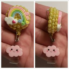 Rainbow and Clouds - Name Badge Reel - Ready to Ship