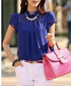 Blusa 2015 New Women Fashion Chiffon Blouse Shirts Short Sleeve Summer Tops Shirt Blue Solid Casual Blouse Business Attire, Women's Summer Fashion, Chiffon Tops, Blouses For Women, Casual Shirts, Nice Dresses, Womens Fashion, Outfits, Clothes