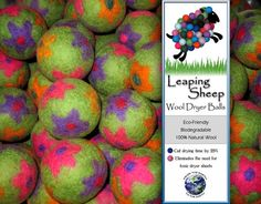 """I LOVE dryer balls...specially these groovy flowers:) Use coupon code """"LEAPINGSHEEP"""" for 20% off"""