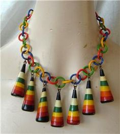 Art Deco Necklace Celluloid Lacquered Wood Multi Color Rainbow Brights Striped Bib Vintage