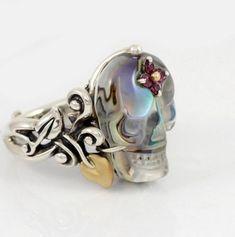 Barbara Bixby Sterling Silver 18K Gold Abalone Doublet Skull Ring Size 6   eBay