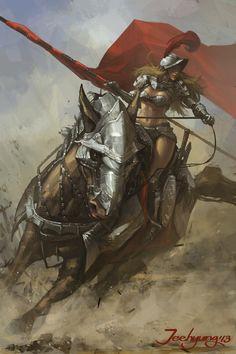 fighter, mount, female, spear, lance