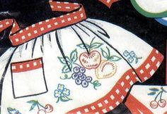 Hand Embroidery PATTERN Vogart 605 Fresh Fruit for Dish Towels Aprons