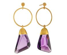 Symmetry: 18Kt Gold Earrings with hand-cut Amethyst Crystal