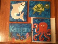Sea life nursery. Baby boy shark turtle shower gift!  4 Custom Canvas Paintings To Match Any Boy by ThirtySevenHundred order now!