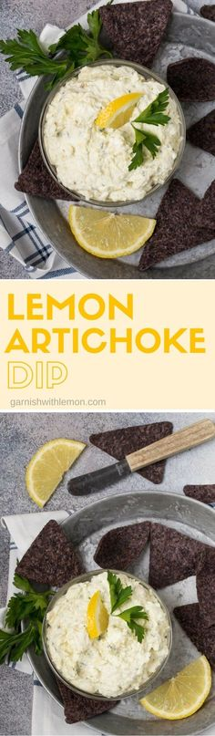 Light, bright and full of fresh citrus flavor, this Lemon Artichoke Dip recipe is a updated spin on a classic party favorite. #dips #appetizers #lemon #artchokedip