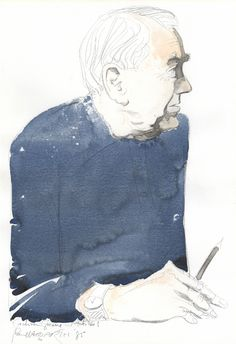 Graham Greene in Antibes (1985) by Paul Hogarth RA