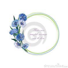 Flower frame. Floral border. Bouquet cornflower isolated.
