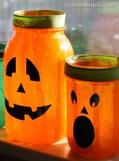 Mason jar jack-o-laterns - just need the jars, mod podge, and tissue paper.... I did these last year before I ever saw pinterest thinking I had a unique idea haha
