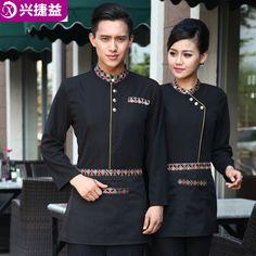 uniformes para lanchonetes e restaurantes elegantes - Pesquisa Google Waiter Uniform, Spa Uniform, Hotel Uniform, Uniform Ideas, Housekeeping Uniform, Restaurant Uniforms, Staff Uniforms, Apron Designs, Blazers