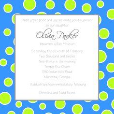 Blue & Green Polka Dot Bat Mitzvah Invitation