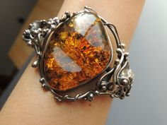 Baltic amber and sterling cuff