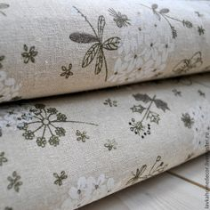 Шитье ручной работы. Ярмарка Мастеров - ручная работа Ткань лен небеленый Полевые цветы 46х50см, 2063. Handmade.