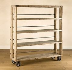 We just got this Salvaged Wood/Steel Shelving unit. Industrial, yet warm. Think wine room storage or room focal point. Unique Shelves, Diy Wood Shelves, Diy Shelving, Wire Shelves, Furniture Projects, Diy Furniture, Diy Projects, Vintage Furniture, Steel Shelving