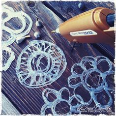How to make your own stencils using a hot glue gun....linked to tutorial...awesome!