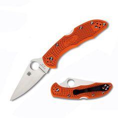 Delica 4, Orange FRN Handle, Drop-Point Plain w/Clip