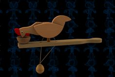 Pecking Chicken Wooden Toy - STEP / IGES,STL,SketchUp,Parasolid,SOLIDWORKS,Autodesk 3ds Max,OBJ - 3D CAD model -…