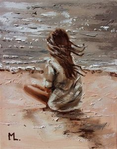 "Buy "" JUST ME AND SILENCE . "" original painting SEA SUMMER palette knife GIFT, Oil painting by Monika Luniak on Artfinder. Discover thousands of other original paintings, prints, sculptures and photography from independent artists. Pretty Pictures, Art Pictures, Paintings For Sale, Original Paintings, Coastal Art, Art Drawings Sketches, Drawing People, Oil Painting On Canvas, Lovers Art"