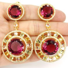 Long Big Multi Color Pink Tourmalin, Citrins, Kunzite, Tsavorite Garnet Gold Silver Earrings 60x32mm #Affiliate