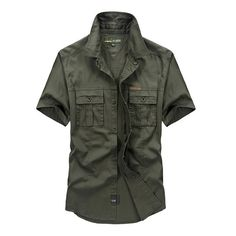 Mens Outdoor Military Double Pocket Solid Color Casual Short Sleeve Cotton Shirt at Banggood