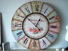 Decoupage Letters, Decoupage Art, Clock Craft, Diy Clock, Vintage Crafts, Vintage Wood, Giant Wall Clock, Space Drawings, Wall Watch
