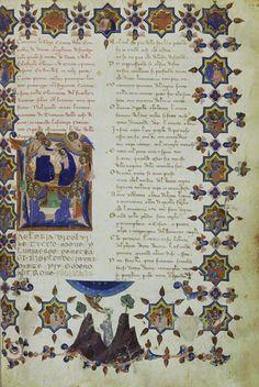 Initial L: The Coronation of the Virgin, 1337, Master of the Dominican Effigies. From Divine Comedy (text in Italian) by Dante Alighieri. Tempera and gold leaf on parchment, 14 5/8 x 10 7/16 in. (37.2 x 26.5 cm). Archivo Storico Civico e Biblioteca Trivulziana - Comune de Milano, Cod. Triv. 1080, fol. 70, all rights reserved