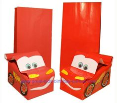 DIY Cars Lightning McQueen Party Favor Bags. These are so easy to make and has a tutorial!